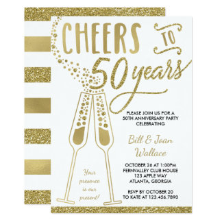 50th Wedding Anniversary Invitation, Faux Glitter Card