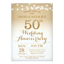50th Wedding Anniversary Invitation Gold