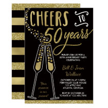 50th Wedding Anniversary Invitation, Gold, Black Card
