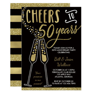 50th Wedding Anniversary Invitation, Gold, Black Card