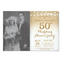 50th Wedding Anniversary Invitation Gold Photo