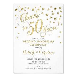 50th Wedding Anniversary Invitation - Gold & White