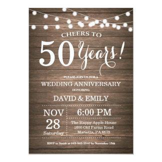 50th Wedding Anniversary Invitation Rustic Wood Zazzle_invitation2