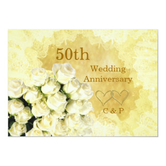 50th Wedding Anniversary Invitation with white ros