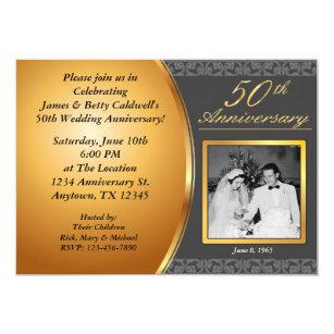Th anniversary invitations announcements zazzle