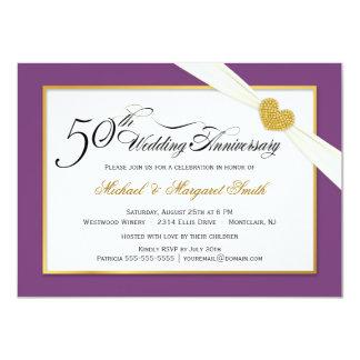 "50th Wedding Anniversary Invitations - Purple 4.5"" X 6.25"" Invitation Card"