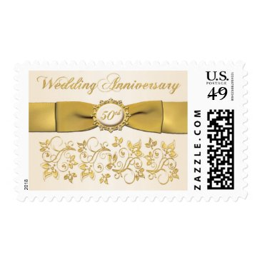 50th Wedding Anniversary Ivory Gold Floral Postage