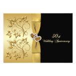 50th Wedding Anniversary Joined Hearts Invite