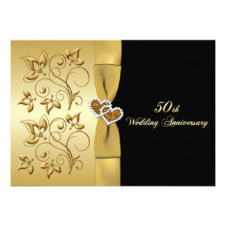 50th Wedding Anniversary Joined Hearts Invite