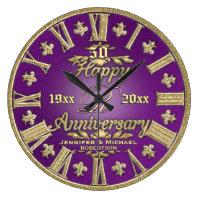 50th Wedding Anniversary Large Clock