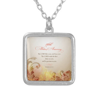 50th Wedding Anniversary, Lord Bless & Keep Silver Plated Necklace