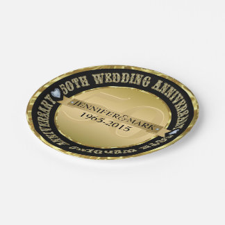 50Th Wedding Anniversary Metallic Gold And Black Paper Plate