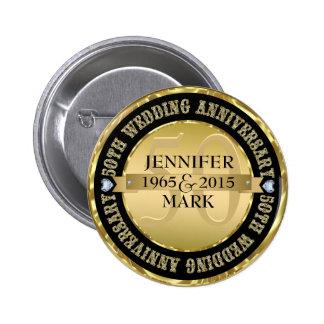 50Th Wedding Anniversary Metallic Gold & Black 2 Button