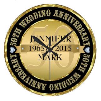 50Th Wedding Anniversary Metallic Gold & Black 2 Large Clock
