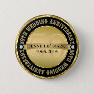50Th Wedding Anniversary Metallic Gold & Black Pinback Button