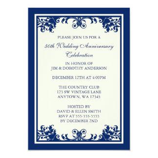 50th Wedding Anniversary Navy Flourish Scroll Invitation