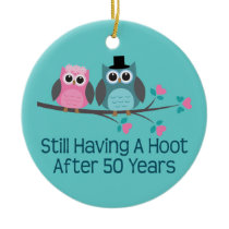 50th Wedding Anniversary Owls Ceramic Ornament