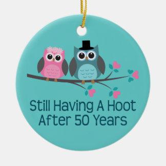 50th Wedding Anniversary Owls Ceramic Ornament
