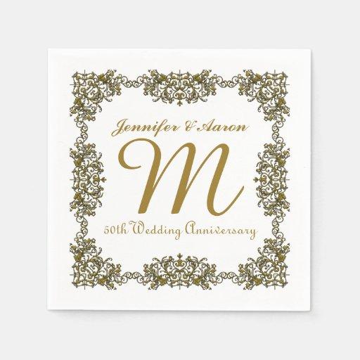 Th wedding anniversary paper napkins zazzle