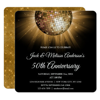50th Wedding Anniversary Party Gold Disco Ball Card