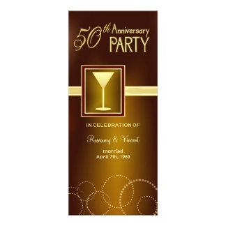50th Wedding Anniversary Party - Gold Monogram Personalized Announcements