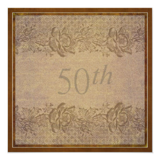50th Wedding Anniversary Party in Gold Floral 5.25x5.25 Square Paper Invitation Card