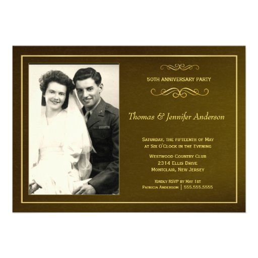 50th Wedding Anniversary Party Photo Invitations