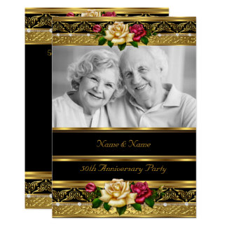 50th Wedding Anniversary Party Rose Gold Photo 3 Invitation