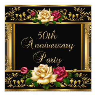 50th Wedding Anniversary Party Rose Gold Vintage Card