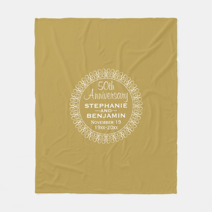 Th wedding anniversary personalized fleece blanket zazzle