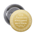 50th Wedding Anniversary Personalized gold 2 Inch Round Button