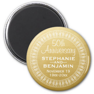 50th Wedding Anniversary Personalized gold 2 Inch Round Magnet