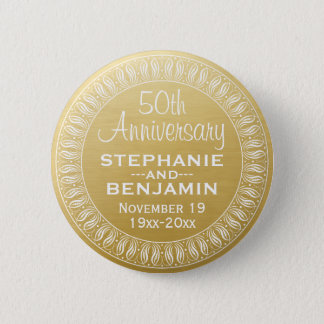 50th Wedding Anniversary Personalized gold Button