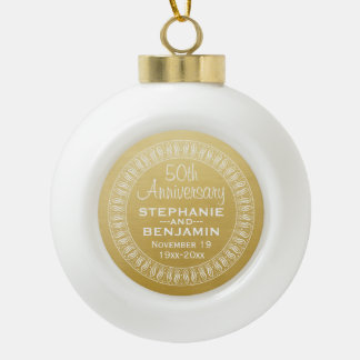 50th Wedding Anniversary Personalized gold Ceramic Ball Christmas Ornament