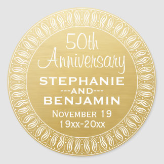 50th Wedding Anniversary Personalized gold Classic Round Sticker