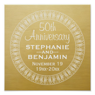 50th Wedding Anniversary Personalized gold Poster