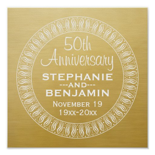 Th wedding anniversary personalized gold poster zazzle