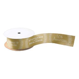 50th Wedding Anniversary Personalized gold Satin Ribbon
