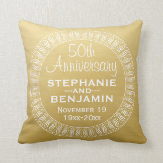 50th Wedding Anniversary Personalized gold Throw Pillow