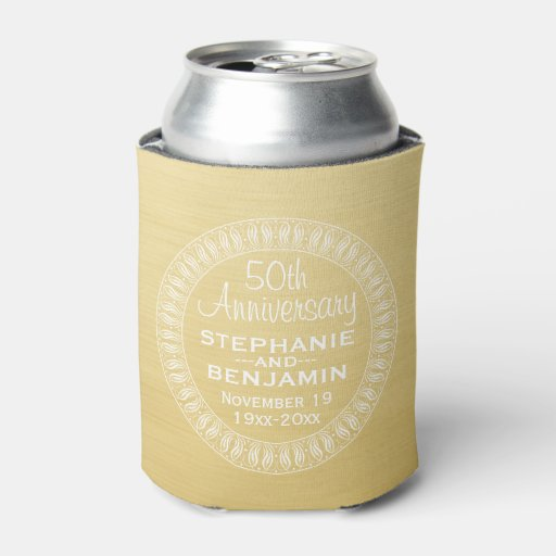 Th wedding anniversary personalized gold can cooler zazzle