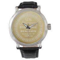 50th Wedding Anniversary Personalized gold Wrist Watch
