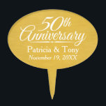 """50th Wedding Anniversary Personalized Golden Cake Topper<br><div class=""""desc"""">Traditional Brushed Gold Background - Perfect gift for parents or grandparents. A keepsake that you can customize.</div>"""