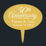 "50th Wedding Anniversary Personalized Golden Cake Topper<br><div class=""desc"">Traditional Brushed Gold Background - Perfect gift for parents or grandparents. A keepsake that you can customize.</div>"