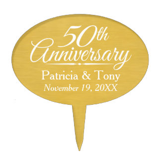 50th Wedding Anniversary Personalized Golden Cake Topper