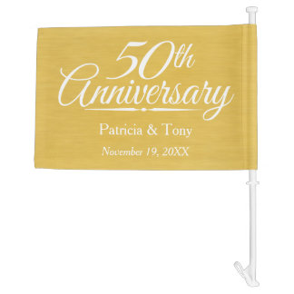 50th Wedding Anniversary Personalized Golden Car Flag