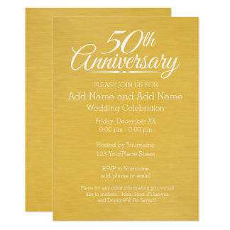 50th Wedding Anniversary Personalized Golden Invitation