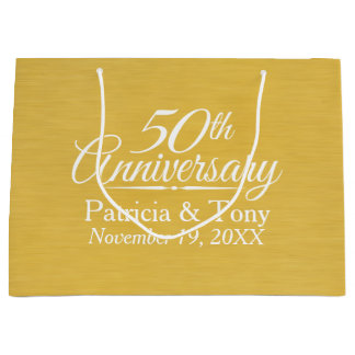 50th Wedding Anniversary Personalized Golden Large Gift Bag