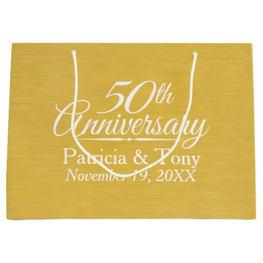 Personalised 50th Wedding Anniversary Gift : 50th Wedding Anniversary Personalized Golden Large Gift Bag Zazzle