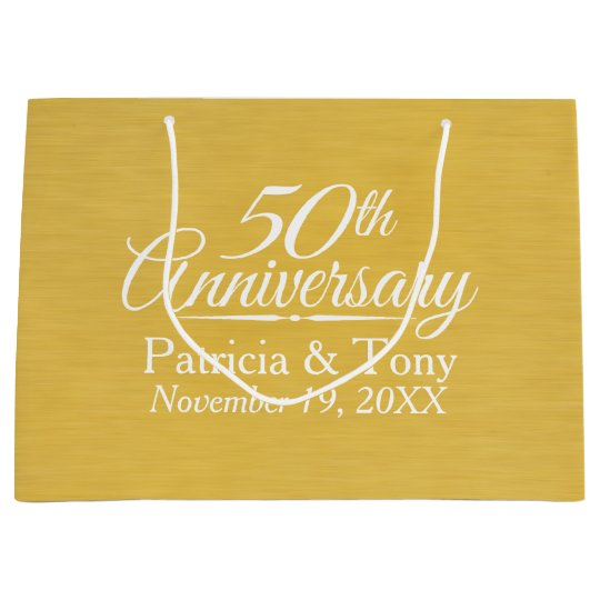Unique Golden Wedding Anniversary Gifts: 50th Wedding Anniversary Personalized Golden Large Gift
