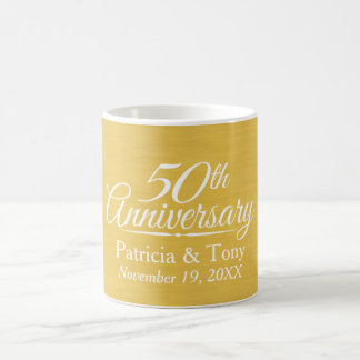 50th Wedding Anniversary Personalized Golden Classic White Coffee Mug